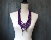 Purple/Plum Cotton Jersey Necklace with Gunmetal Accent Chains