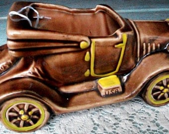 Vintage McCOY Auto PLANTER -Super Gift 4 Dad!- Figural Piece In Excellent Condition, Cold Paint All Here, Special Find & Display Piece- Sale