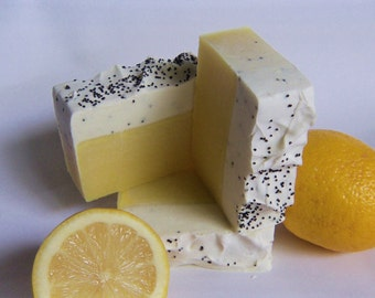 Select 2 or 3 Lemon wrapped soaps with poppyseed. approximate 4oz each. Plenty Lemon essential oil  Vegan Friendly