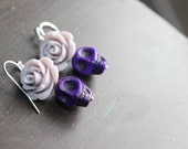 Gray Rose and Purple Sugar Skulls earrings