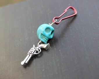 Men's Sugar Skull Zipper Pull Skull Backpack Charm
