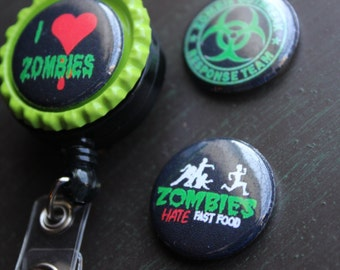 Zombie Inspired Interchangeable Badge Holder Sugar Skull Badge Holder Retractable Badge Holder