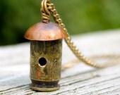 Bullet Shell Birdhouse Pendant Necklace