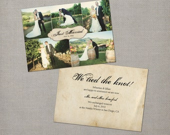 "Wedding announcement / Marriage announcement / Elopement announcement / Vintage Wedding Announcement Cards - the ""Jillian"""