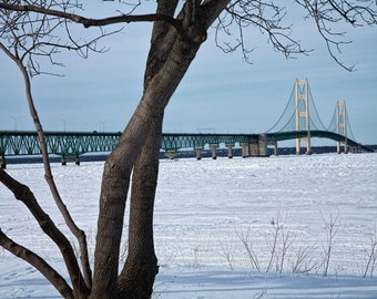 Mighty Mac Long Suspension Bridge in Winter by Mackinaw City at the Straits of Mackinac in Michigan No.637 A Fine Art Landscape Photograph