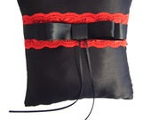 Black Satin and Red Lace Ring Bearer Pillow