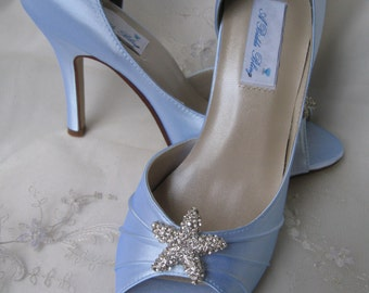 Blue Wedding Shoes Blue Bridal Shoes Crystal Starfish -100 Additional Colors To Pick From
