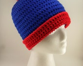 Stan Inspired Beanie from South Park - Blue and Red with Pom Pom - FREE US Shipping