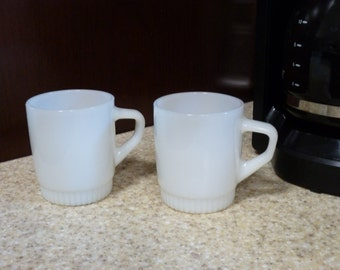 Vintage white stackable D handle Fire King ware mugs- pair