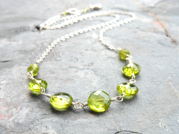Peridot Necklace, Sterling Silver, Green Gemstone Strand Necklace, August Birthstone