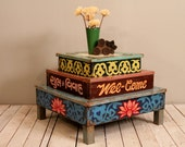 Reserved for Angela SALE Reclaimed Vintage Indian Wood Hand Painted Welcome Sign Tent Parts Side Table Coffee Table Plant Stand