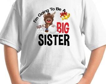 Big Sister Christmas Shirt or bodysuit with Reindeer and bells T-Shirt Santa xmas winter fun announcement tshirt