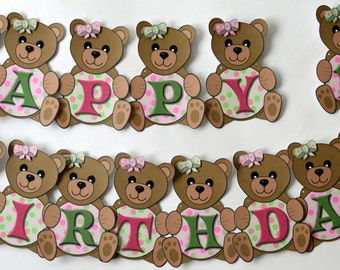Teddy Bear Picnic First Birthday Party or Baby Shower Decorations- BANNER, personalized, custom