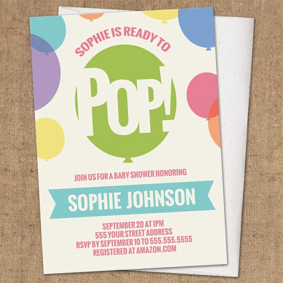 Ready To Pop Invitation DIY Printable Baby Shower Invite