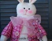 "Primitive 'Sparkles""  Spring Roly Poly Bunny - Primitive Rabbit  -"