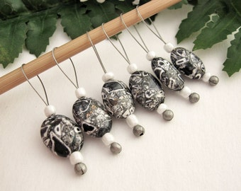Stitch Markers, Knitting, Mosaic Stone Beads, Snag Free, Jeweled Tool, Knitting Accessory, Supply, Handmade, Gift for Knitters, Black White