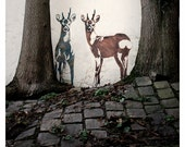 Paris street art, graffiti, deer stencil, urban, trees, Montmartre, cobblestones, wall - 8x8, 12x12, or 20x20-Original Fine Art Photograph