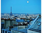 Moonset over Paris - Eiffel Tower, full moon, From Paris to the Moon, Montmartre, blue decor - 8x8 or 12x12 Original Fine Art Photograph