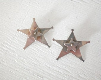 Vintage Sterling Silver Star Earrings Double Star Pierced Spinning Star Large Signed Beshara Unique GallivantsVintage