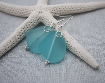 Aqua Blue Sea Glass Earrings Seaglass Earrings Sea Glass Jewelry Beach Glass Earrings Beach Glass Jewelry Beach Jewelry Seaglass Jewelry 080