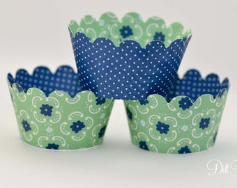 Green & Blue Floral with Polka Dot Reverse- Set of 24 - Cupcake Wraps - Standard or MIni Size - Blueberry Dream