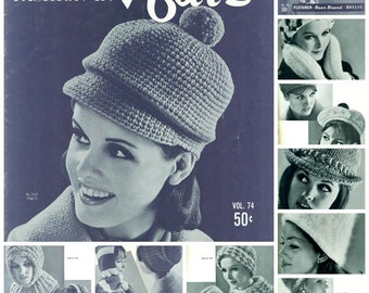GROOVY HATS Peak of Fashion in Hats 1960s Patterns Knitting & Crochet Fleisher Bear Brand Botany Vol. 74