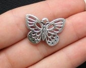 5 Butterfly Charms Antique  Silver Tone - SC1398