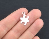10 Puzzle Piece Charms Antique Silver Tone 2 Sided - SC2026