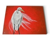 Egret on Red, realistic white shore bird painting, bold modern home decor canvas art, made to order
