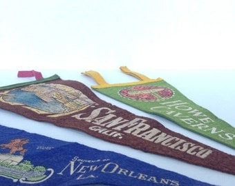 Vintage Pennant Banner - Mini Felt Pennant Banner / Graphic Wall Hanging / 1950s / San Francisco, Howe Caverns, New Orleans