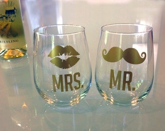 Mr and Mrs - Stemless Wine Glasses - (set of 2) - wedding - barware