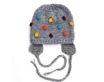 Knitted Baby Kids Childrens Boys Girls Hat, dark Grey with Blue - Turqouise Yellow Brown Orange Bobbles with EarFlap, sizes - 0-24 m, 2 T-5T