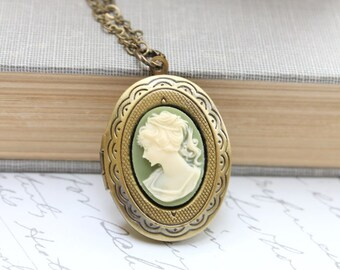Oval Locket Necklace Vintage Style Green and Cream Cameo Pendant Antique Brass Picture Photo Locket Green Lady Face Cameo Victorian Romantic