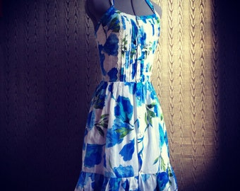 Floral cotton lawn halter dress with pearl snaps- made to measure