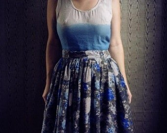 Coastal dress- made to measure hand dyed ombre linen, floaty cotton floral skirt