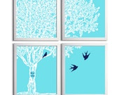 Personalized family tree baby parents nursery carved initials lime navy choose colors set of 4