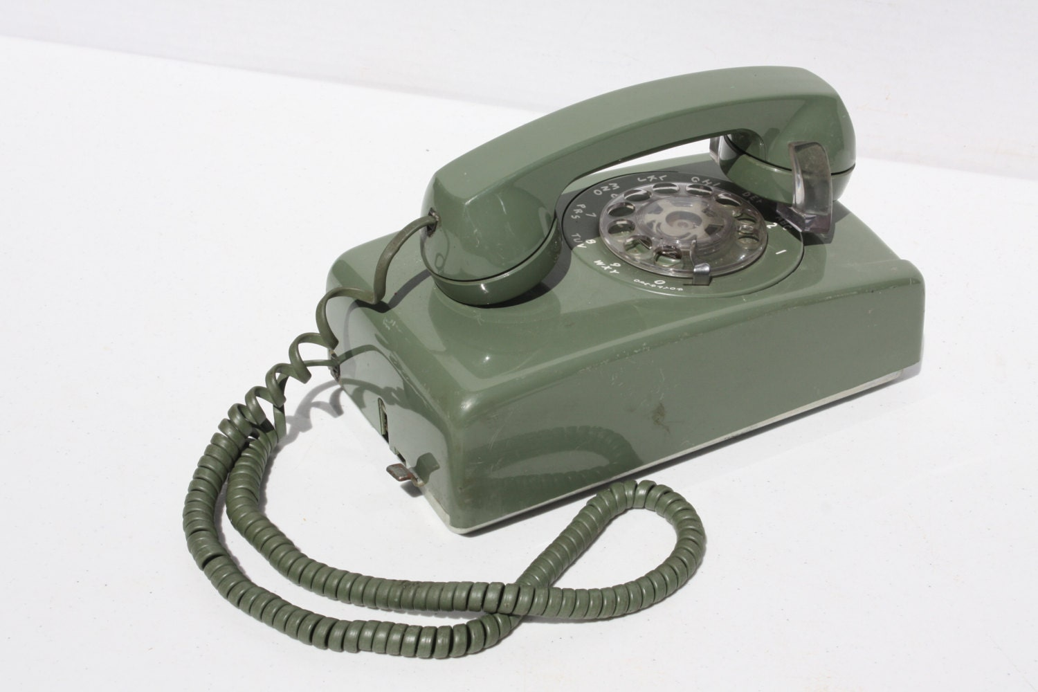 Vintage avocado green rotary dial wall telephone by cybersenora
