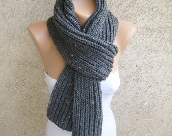 Tweed Mens Scarf Graphite gray Long, Thick Wool Unisex Shawl, Double face Rib pattern Knit Scarf, Women Winter Fall Accessory, Christmas