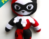 "PDF PATTERN - 10"" Human Lady Plush Harley Quinn (Digital Download)"