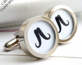 Western Moustache Cufflinks in Black and White, can be made in your choice of colours
