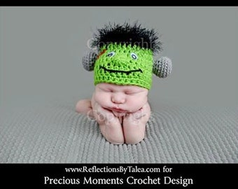 Baby Frankenstein Hat, Newborn Halloween Hat, Newborn Frankenstain Hat, Baby Halloween PHOTO PROP, Newborn Hat, Crochet Hat, Baby Hat
