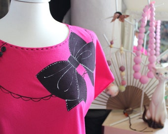 Black Ribbon handpainted and handsewn dress FLUO COLOR