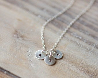 Tiny Initial Necklace - Three Initials - Personalized Handstamped Sterling Silver Circle Delicate Everyday Necklace - Valentine's Day Gift
