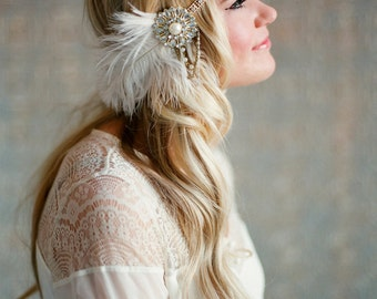 Flapper Headpiece, Vintage Inspired, Bridal Hairpiece, The Great Gatsby, 1920's, 1930's, Party Roaring 20's, Gold, Ivory, Pearl, Feather 107