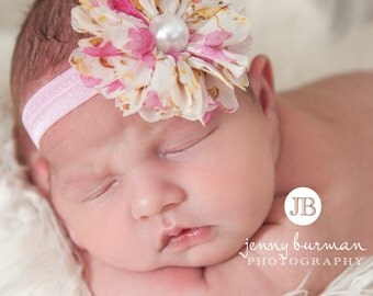 Baby Headband,Pink Baby Headband,Baby girl Headband,Newborn Headband,Flower Headband, Small Bow Headband, Baby Headbands,Baby Hair Bows.