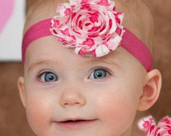 Valentines baby Headband, Baby headband, baby headbands, newborn headband,pink baby headband, infant headband, shabby chic headband.