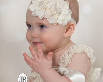 Ivory Headband ,Baby girl Headband,Newborn Headband,Christening Headband,Ivory Flower Headaband, Baptism Headband, Baby Headbands. #45