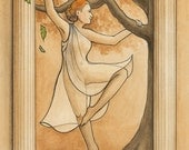 """Wood Nymph, or Dryad, dancing with an oak tree with Greek styled border, mythology, dance - Art Reproduction (Print) - """"Dryad"""""""