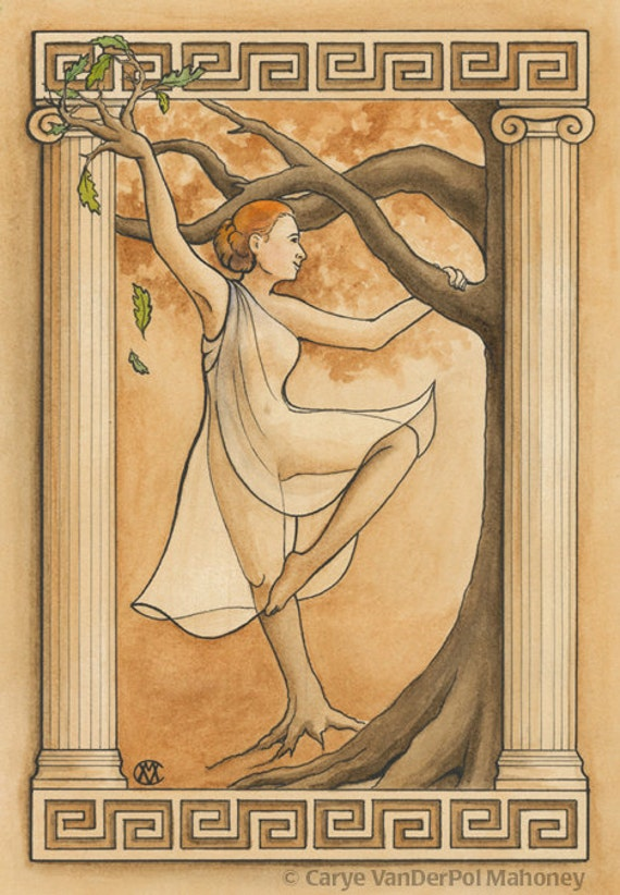 "Wood Nymph, or Dryad, dancing with an oak tree with Greek styled border, mythology, dance - Art Reproduction (Print) - ""Dryad"""