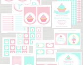 Cupcake Bake Shop Birthday Party - Full Printable Party Collection - anna and blue paperie
